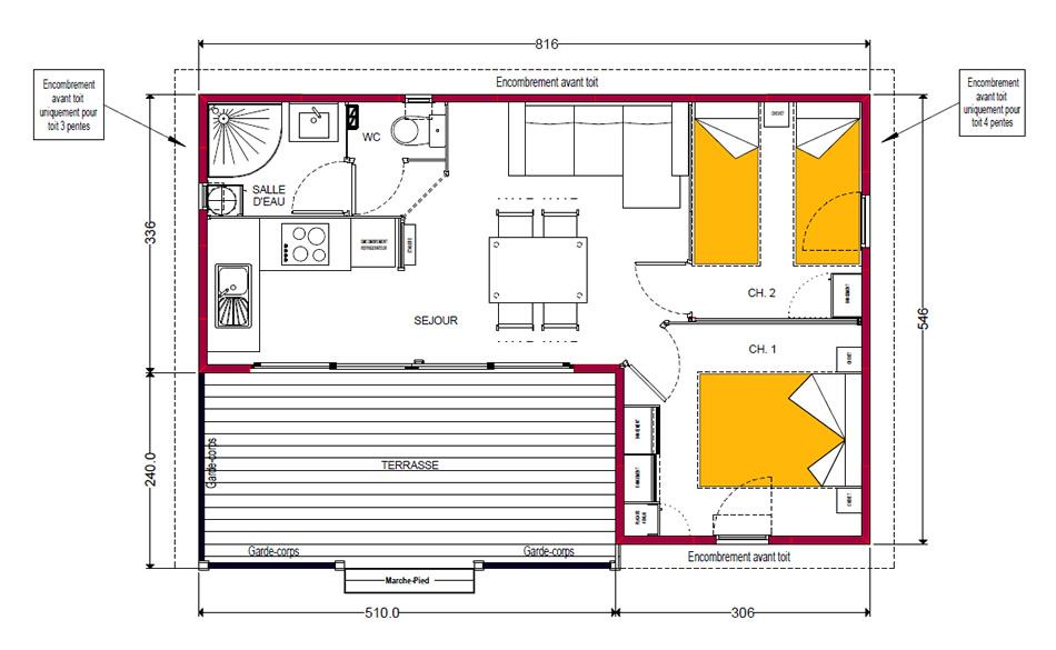 Chalet bois cayenne avec tv 5 personnes 2 chambres 32m Plan chalet